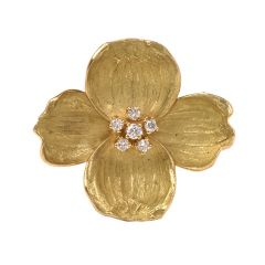 Tiffany & Co Diamond Dogwood Flower 18K Yellow Gold Brooch Pin