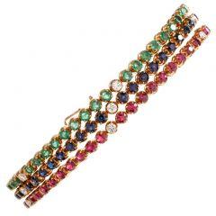 Vintage 3 Strand DIamond Emerald Sapphire Ruby 18K Line Bracelet