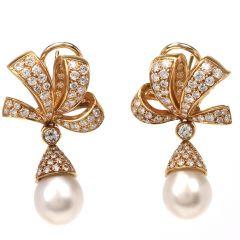 Tiffany & Co Diamond 18K Yellow Gold Pearl Drop Ribbon Earrings