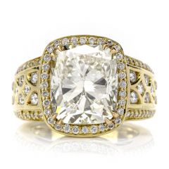 Charles Krypell 8.98ct Diamond 18K Yellow Gold Brilliant Cushion Engagement Ring