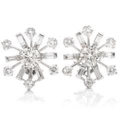 Vintage Diamond 14K Pinwheel Omega Clip Earrings