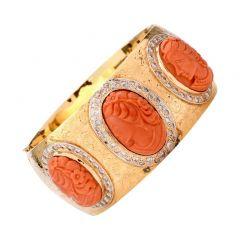 Vintage Coral Cameo Diamond 18K Wide Bangle Bracelet