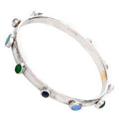 Vintage Gurhan Diamond Opal Platinum Stackable Bangle Bracelet