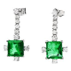 Deco Vintage Diamond High Quality Emerald Platinum Dangle Earrings