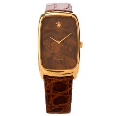 Vintage Rolex Cellini 18K Gold Wood Dial Leather Watch