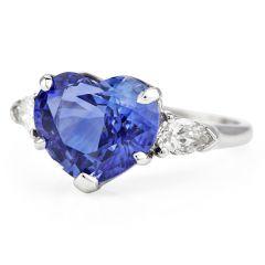 Oscar Heyman 6.60cts Heart Sapphire Diamond Platinum Ring