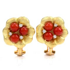 Estate 0.14ct Diamond Red Coral 18K Gold Flower Clip On Earrings