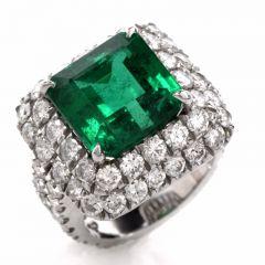 Exceptional 13.67ct Emerald Diamond Platinum Cocktail Ring