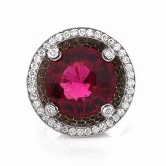 Estate 16.19ct Pink Tourmaline & Diamond Platinum Cocktail Ring