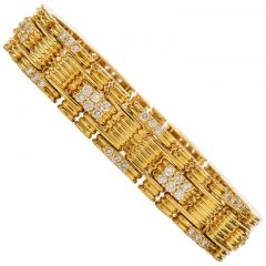 JOSE HESS Estate Diamond Link 18k Yellow Gold Bracelet