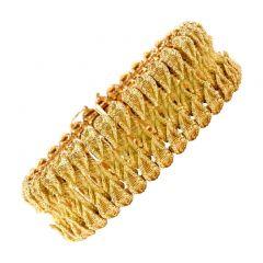 Vintage  French 18K yellow Gold  Leaf wide bracelet