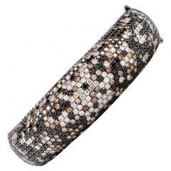 Estate Black, Champagne and White Diamond 18K Hinged Bangle Bracelet