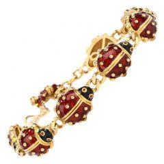 Hidalgo Ladybug Enameled 18K Bracelet