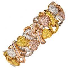 19.68ct GIA Certified  Fancy Yellow, Pink & White Diamond 18K Gold 3-Tone Heart Bracelet