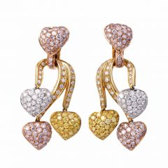 Estate GIA Fancy Pink, Yellow & White Diamond  Gold Pendant Earrings