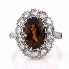 Vintage Platinum Brown Pink Tourmaline Diamond Ring