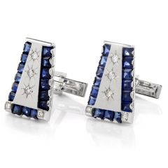 Lucien Piccard Diamond Sapphire 14K Cufflinks