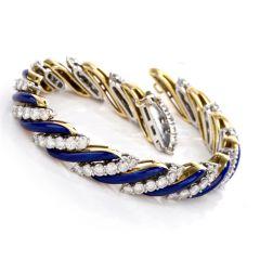 Diamond Blue Candy Striped 18K Bracelet