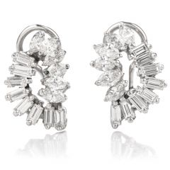 Vintage Diamond Leaf Inspired 18K Earrings