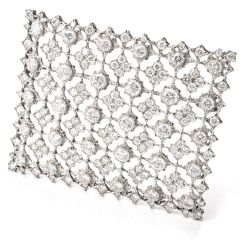 Vintage Diamond Window of Snowflakes Platinum Brooch