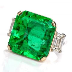 Natural GIA 19.89cts Emerald 3 Stone Platinum Gold Cocktail Ring
