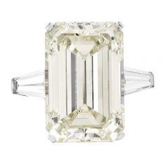 GIA 23.70 carats Platinum Emerald diamond engagement ring
