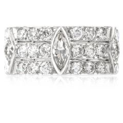 Estate 4.45 Carat Diamond Wide 3 Row Eternity Band Ring