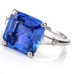 Cartier Natural No Heat AGL Certified Ceylon Sapphire Diamond Engagement Ring