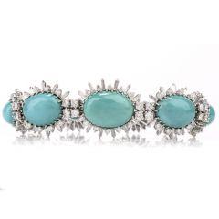 Vintage Diamond Turquoise 18K Bracelet