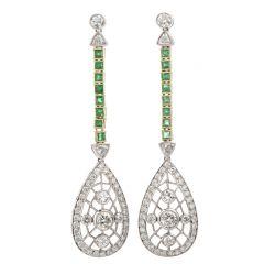 Vintage Diamond Emerald Dangling 18K Earrings