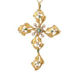 Vintage Rose Cut Diamond Emerald 18K Cross Pendant Brooch