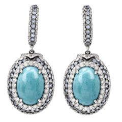 Carlo Viani Turquoise Sapphire Huggie Dangle Earrings