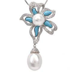 Floral Pearl Turquoise Diamond Dangle Pendant Necklace Enhancer