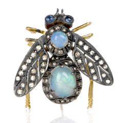 Estate Bug Opal Diamond Silver Vermeil Gold Pin Brooch