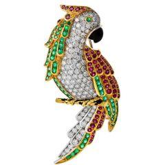 Vintage Diamond Ruby Emerald Onyx 18K Gold Parrot Pin Brooch