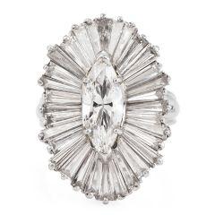 Estate 4.81cts Marquise Diamond Ballerina Cocktail Platinum