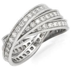 Cartier Diamond Platinum Classic Trinity Band Rolling Ring Size 57