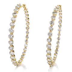 Estate Round Diamond Yellow Gold Eternity Large Hoop Earrings