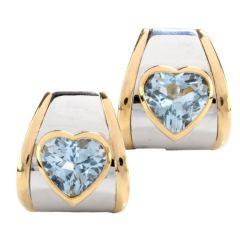 Marina B. Designer Blue Topaz Heart 18K Gold Modern Earrings