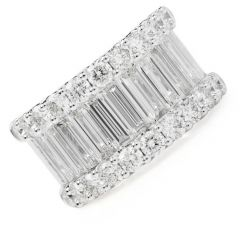 Estate 4.90cts Long Baguette-cut Diamond  Gold  Wide Band Ring