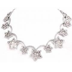 Vintage 22.87ct Diamond French Pearl Flower Petal 18k Gold Necklace Choker