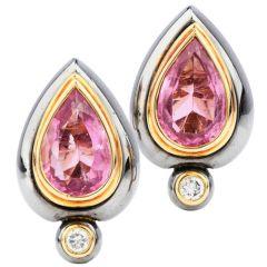 Sterle Paris Tourmaline Diamonds 18K  French Clip On Earrings