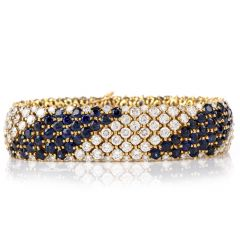 Estate Wide 36.28 Carats Diamond and Sapphire 18K Bracelet