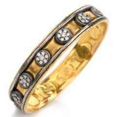 Vintage Gurhan Diamond 24k/Silver Bangle Bracelet
