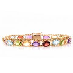 Estate Multi Gemstone 10K Gold Link Rope Chain Bracelet