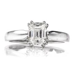 dover jewelry GIA 1.14 Emerald-Cut Diamond I-VS1 Solitaire Engagement Gold Ring