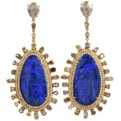 Long Fancy Diamond Boulder Opal 18K Gold Drop Earrings