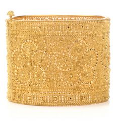 Estate Lace design 18k Yellow Gold Wide Bangle Bracelet 93.3 Grams