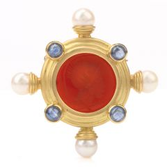 Venetian Intaglio Cameo Pearl Sapphire 18k Gold Brooch Pin
