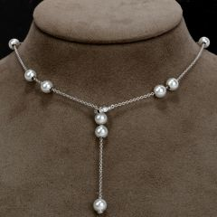 Mikimoto Pearls-in-motion 7.5 mm Akoya Pearl Diamond 18k Gold necklace chain